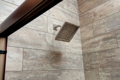 Bathroom Remodel Wood Tile, Stone Shower Floor, Square Shower Head