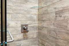 Bathroom Remodel Wood Tile, Stone Shower Floor, Square Shower Head