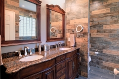 Bathroom Remodel Wood Tile, Stone Shower Floor, Window in Shower, Seamless Glass Shower Door