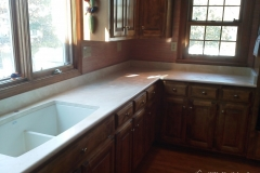 After countertop installation but before fixture installation