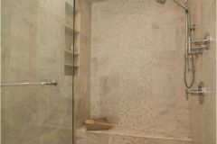 bathroom-showcase-remodel, floating vanity, steam shower, glass tile, glass mosaic tile, soaking tub