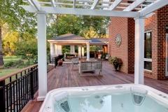 ipe deck, outdoor living, outdoor kitchen, outdoor fireplace, hot tub, pergula